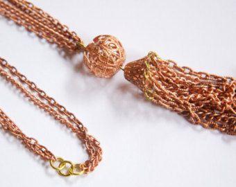 Vintage Copper Coated Unfinished Filigree Bead Tassel Necklace Japan chn077