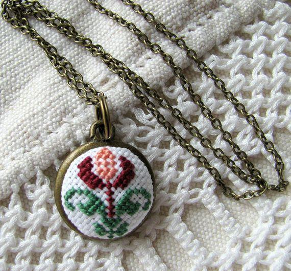 Romantic necklace Flower necklace Boho necklace by NeedleSChoice