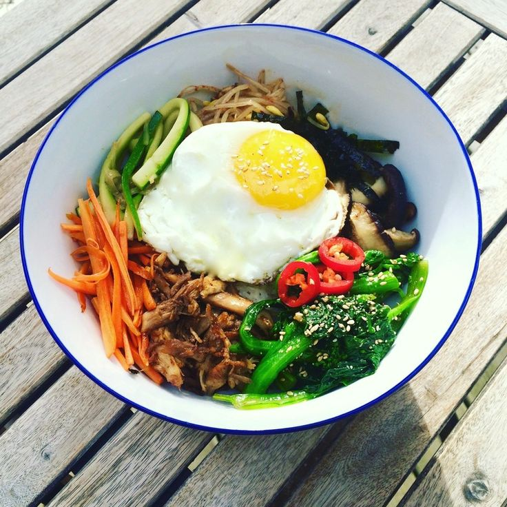"""Bibimbap. Bibimbap, which translates to """"mixed rice,"""" is a korean dish of rice, vegetables, sauce, meat or tofu and egg. It brings together everything I love about Korean food in one, easy to manage bowl. Though the ingredient list is long, bibimbap is easy to prepare and really delicious.  - See more at: http://www.apurefoodkitchen.com/bibimbap/"""