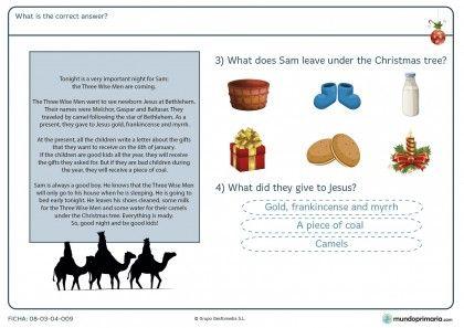Ficha de responder las preguntas sobre un texto inglés para primaria