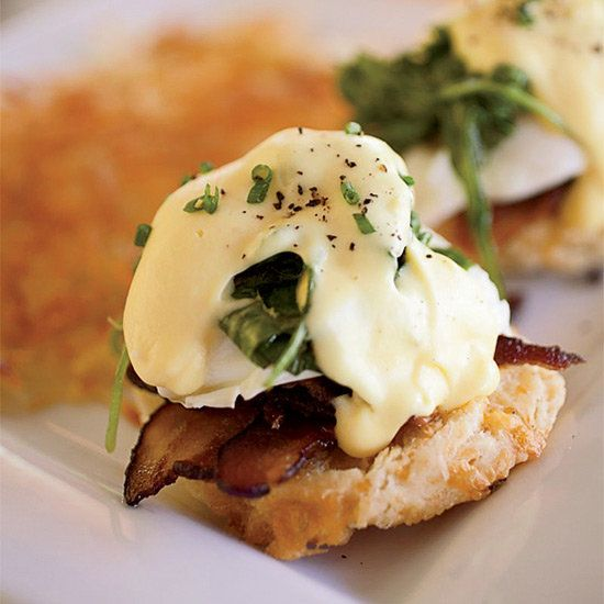 Eggs Benedict with Bacon and Arugula | In her version of eggs Benedict, chef Tara Lazar swaps in applewood-smoked bacon for the usual Canadian bacon, because she prefers its rich flavor and crisp texture.