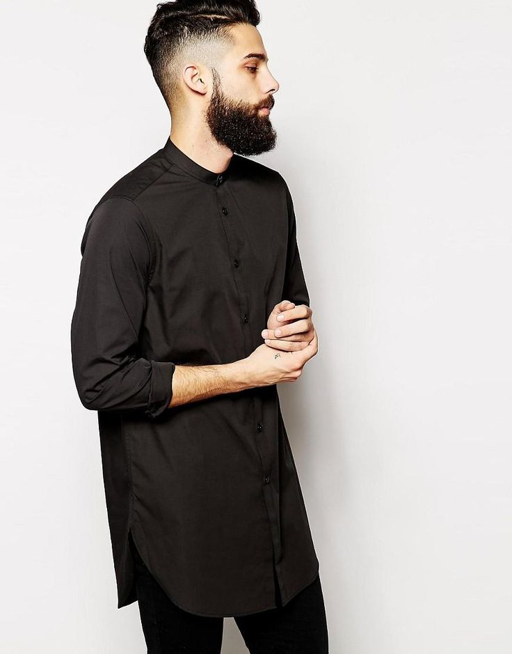 ASOS | ASOS Shirt With Grandad Collar In Super Longline at ASOS