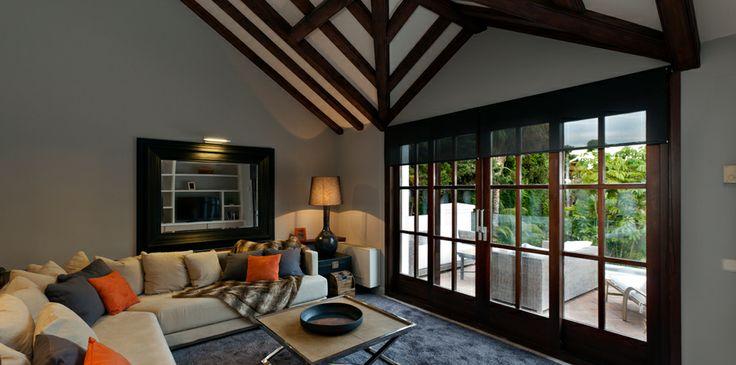 Recently built luxury beachside villa in the Marbella Club - #luxury #design #woodbeams #inspiration #MarbellaClub