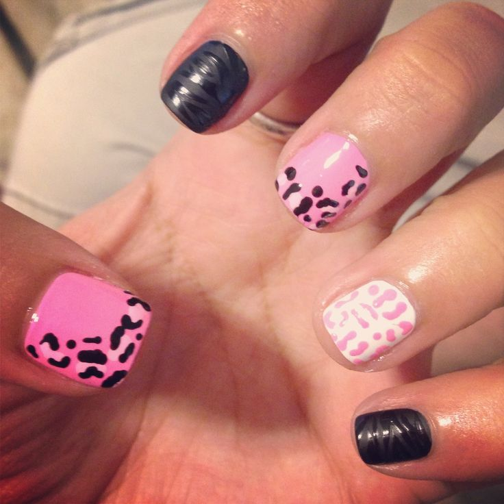 Girly Nail Art: Cute Girly Nail Art. Matte Black With Zebra Stripes. Pink