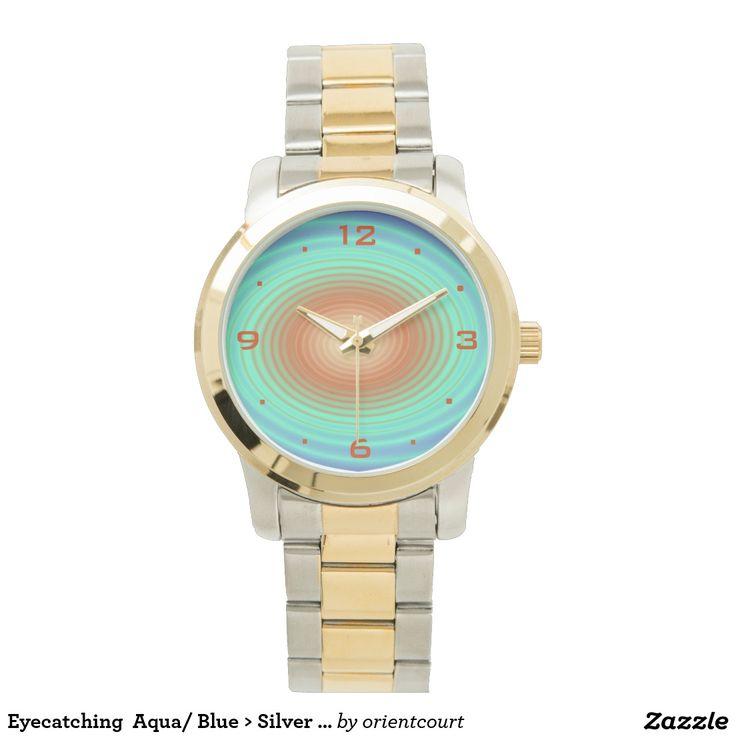Eyecatching  Aqua/ Blue > Silver Gold Tone Watches