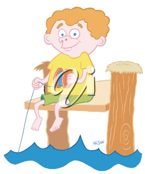 Royalty Free Clipart Image of a Boy Fishing With a String