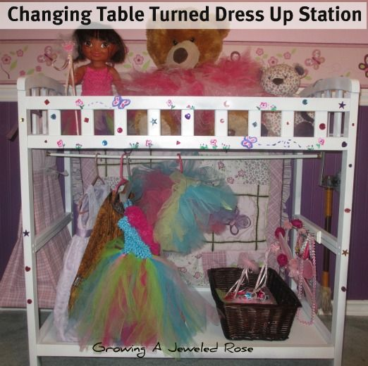 We turned our changing table into a fun dress up station!  Very inexpensive, and my daughter LOVES it!