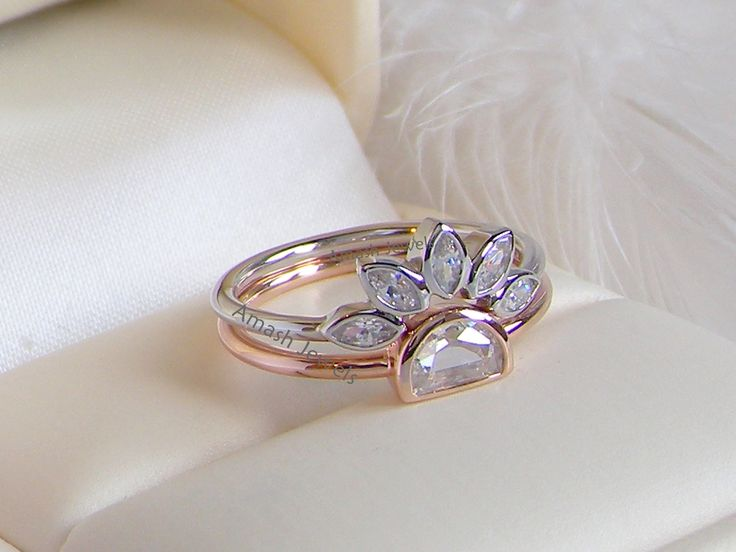 Price: $39 # Unusual rare Marquise Diamond Style rings set