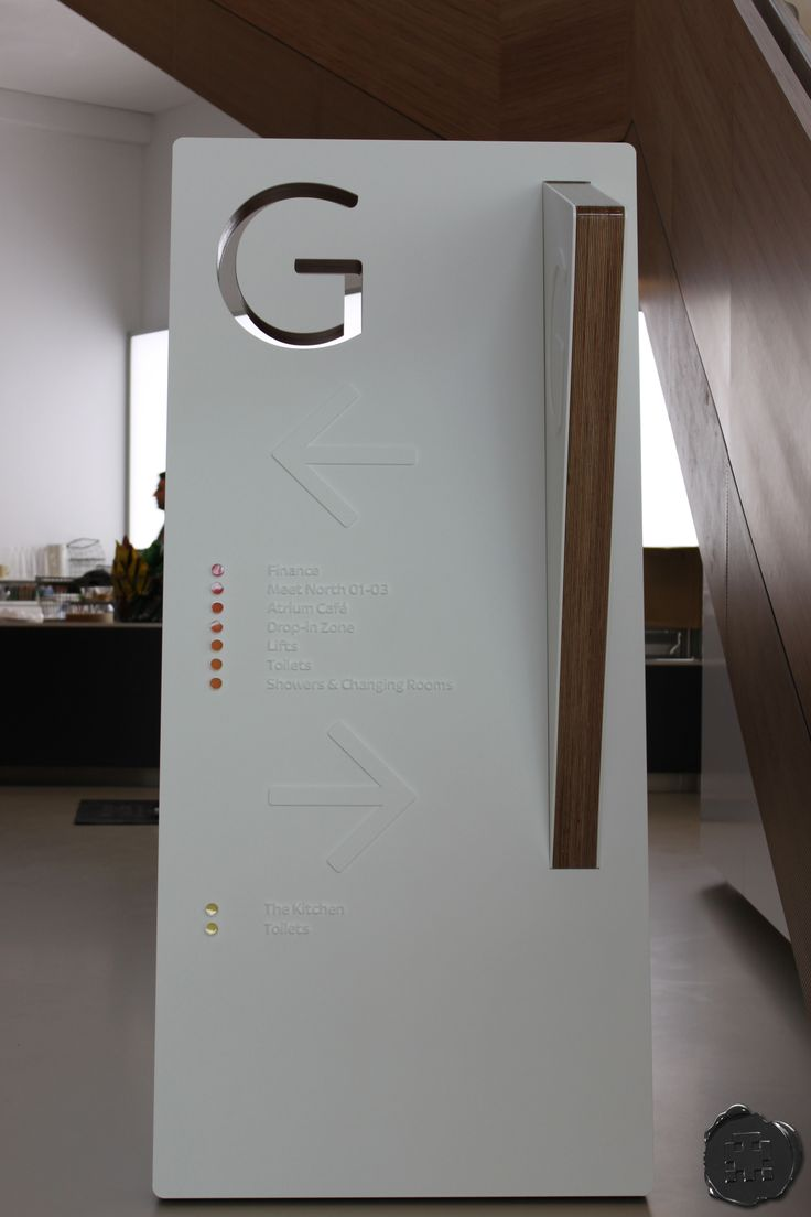 spacemanstudio.co.uk design, fabricate and install this ground floor counterleaning totem for sky with directional floor directory