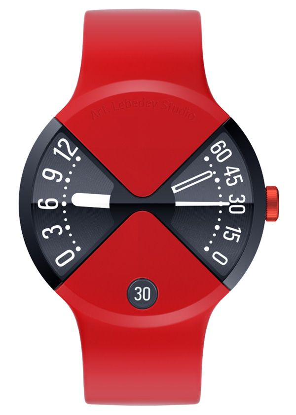 This beautiful quartz watch designed by the good folks at Art Lebedev Studio. It features the body merging with the band. Two wedged displays showcase the hours and minutes/seconds separately; the date appears in a small window. The band is crafted from a flexible silicone material and fits your hand snugly. The body is all aluminum***