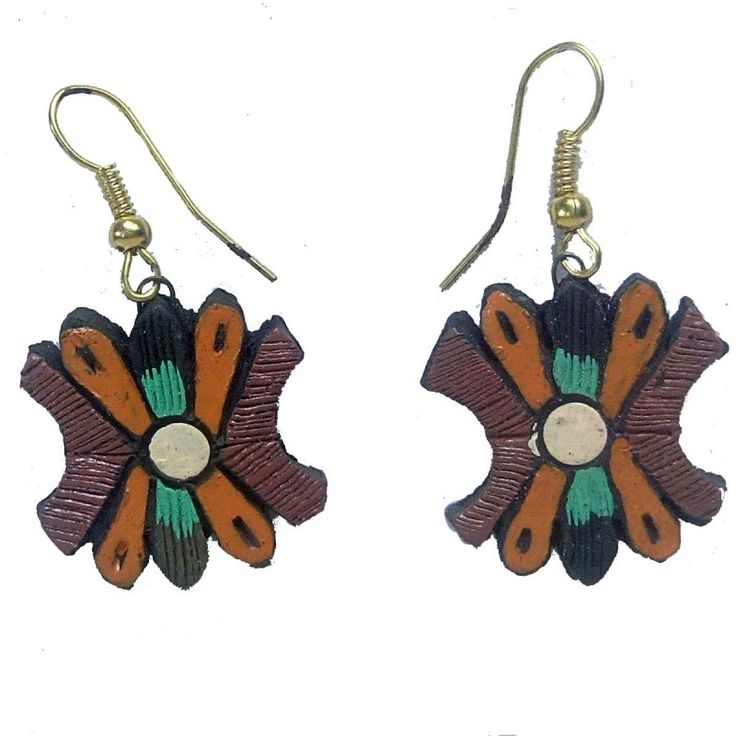 Clay Jewelry from Krishnanagar Handicraft Product New Design Stylish - Butterfly shape Burnt Clay - Water-proof colour