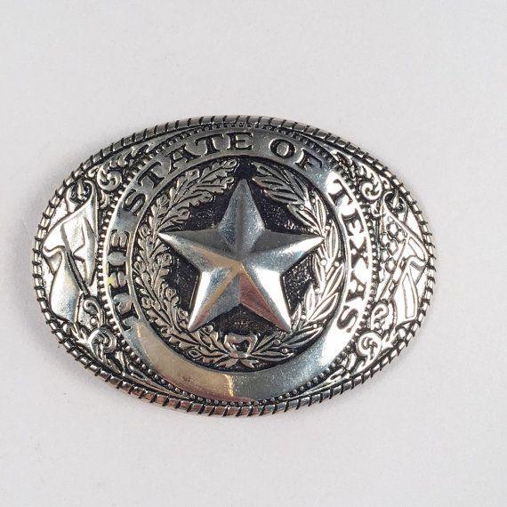 Vtg texas silver belt buckle  by AmericanDrifter on Etsy
