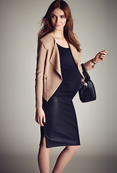 Stork & Babe exclusively at Thyme Maternity :: Open maternity blazer | Stretch maternity cami |Pleather maternity skirt  Veston de maternité ouvert | Camisole de maternité extensible | Jupe de maternité en similicuir