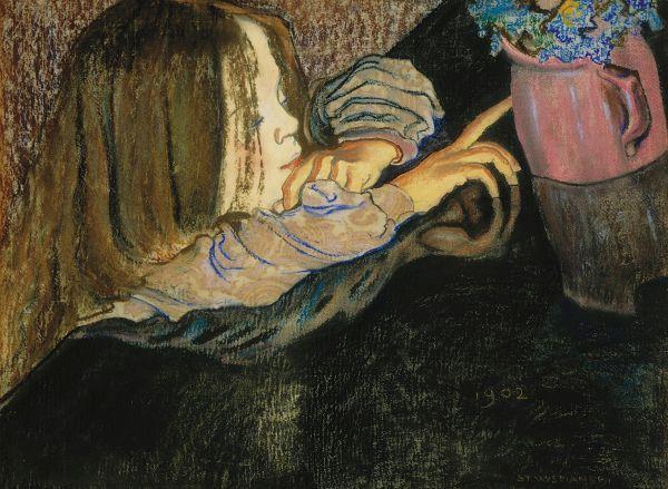 Dziewczynka przy wazonie - Stanisław Wyspiański