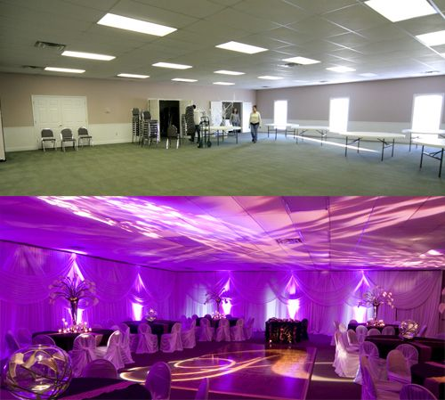 Gym Reception Wedding With Draping | Purple and Plum Reception with Elegant Draping with double swags and ...