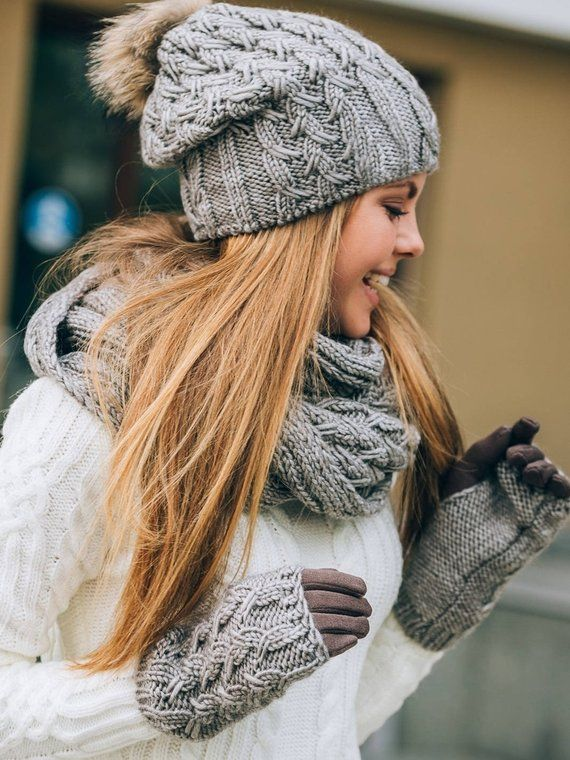 Hat Scarf Gloves Set Hat Scarf Combo Hat Scarf Mittens Hat Etsy Hat Scarf Combo Winter Hats For Women Hat Scarf Gloves Set