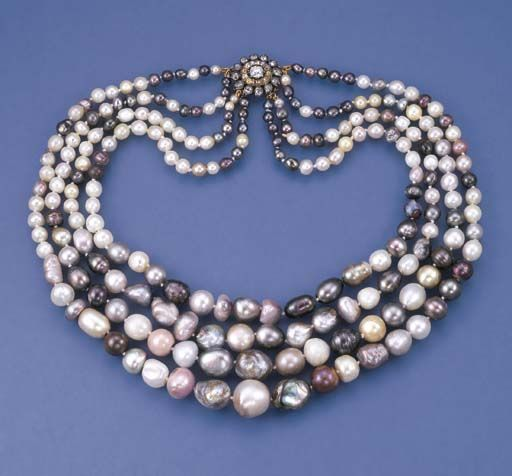 A FOUR-ROW MULTI-COLOURED PEARL NECKLACE The graduated four-row necklace comprising fifty-three, fifty-five, fifty-eight and sixty pearls and baroque pearls measuring 3.5 to 14.9 mm. to the old-cut diamond and yellow diamond cluster clasp, clasp mounted in silver and gold, last quarter of 19th century. Accompanied by report No. 13360251 dated 28 June 2004 from the Gemological Institute of America (GIA) stating that the pearls were found to be predominantly natural