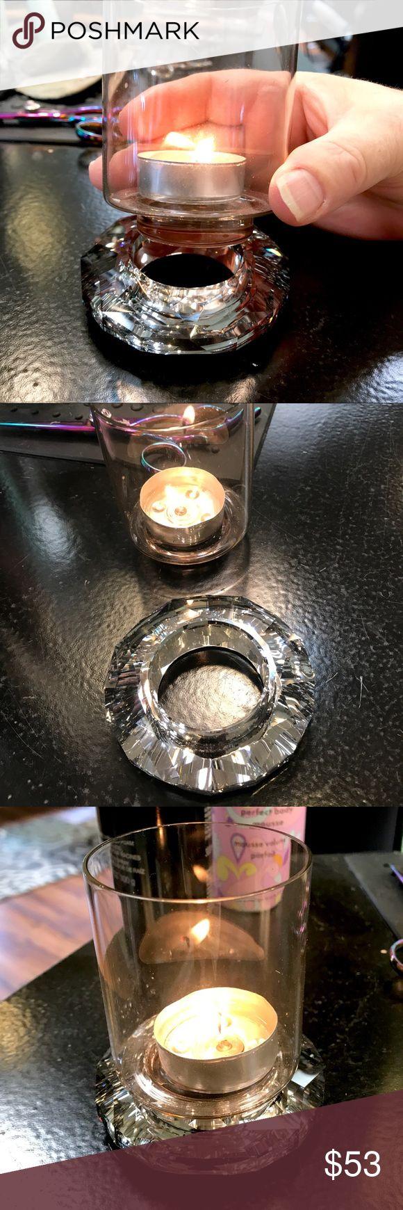 Swarovski Crystal Candle, Rose tone, detached base…
