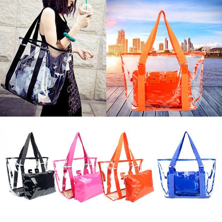 Fashion Women Jelly Candy Clear Transparent Handbag Tote Shoulder Bags Beach Bag #Unbranded #ShoulderBag