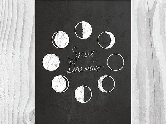 Sweet Dreams Typography Print Lunar Phase Print by nomadprintables