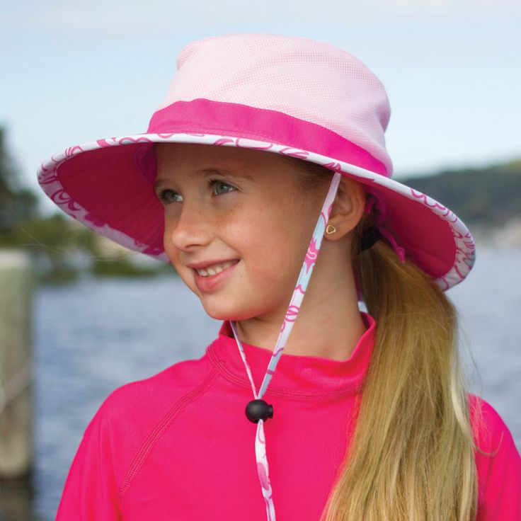 Girls wide brim swimming hat made from lightweight microfibre in bright contrasting colours.  Cricket style, wide brim with adjustable head size. Colour: pink/hot pink Sizes: 55cm or 57cm to fit 4+ years approximately.  RRP: $34.95  Shop: https://rigon-headwear.myshopify.com/collections/kids/products/b78-wide-brim-swim-hat