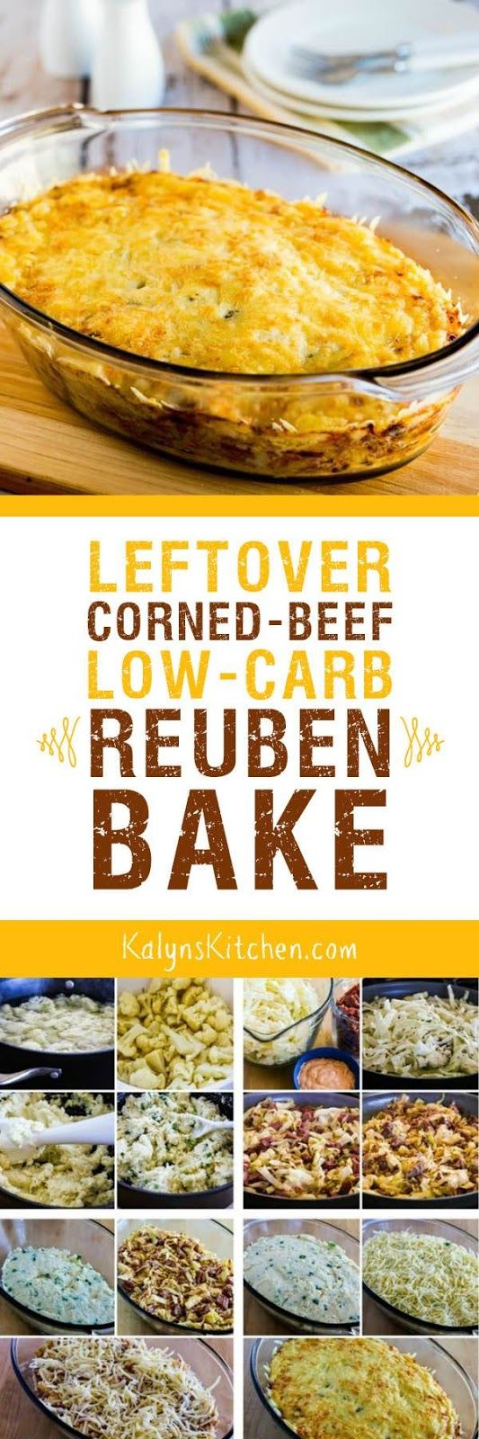 Leftover Corned Beef Low-Carb Reuben Bake is a great idea for leftover corned beef after St. Patrick's Day, or buy some corned beef from the deli and make this any time of year! [found on KalynsKitchen.com]