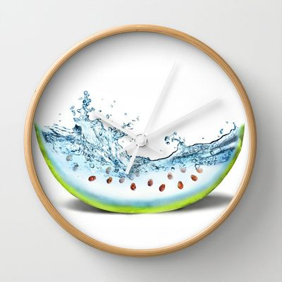 WATER-MELLON Wall Clock by hardkitty - $30.00