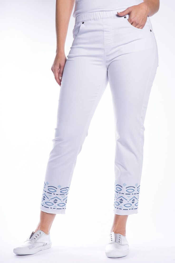 Cafe Latte Stitched #White #Jeans with #embroidery. Cool #summer #pant