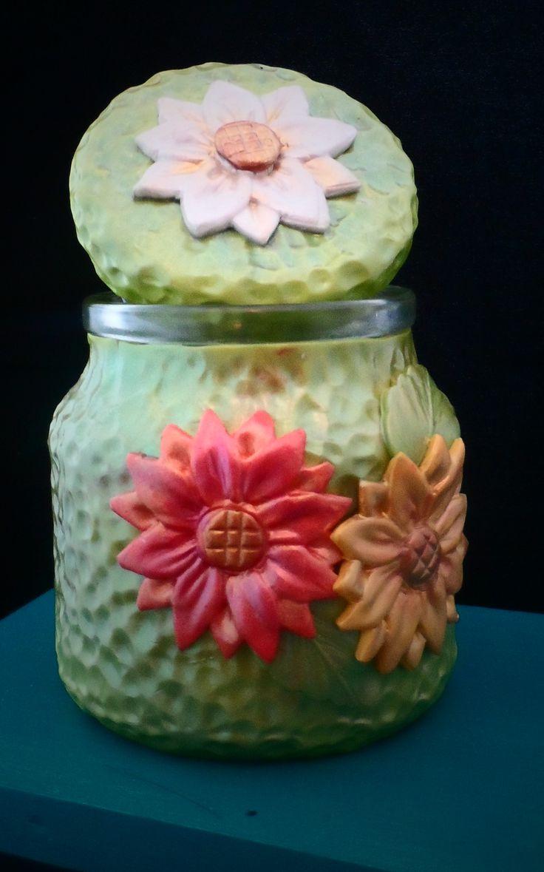 Autumn flower jar - polymer clay jar
