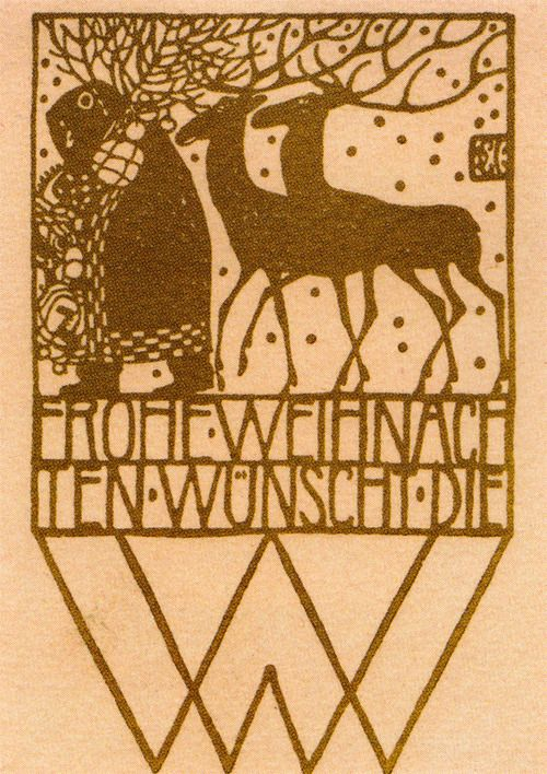 Christmas card by Carl Otto Czeschka for the 'Wiener Werkstätte""