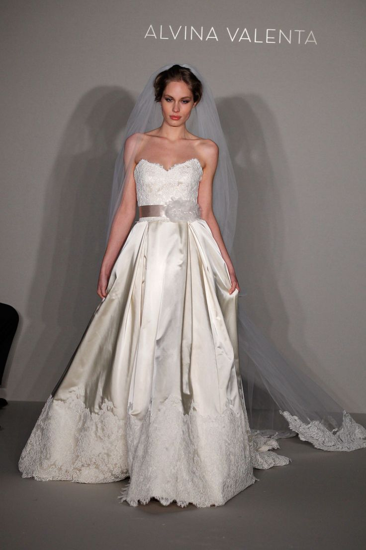 Alvina valenta bridal gown wedding gown satin bottom for Lace overlay top for wedding dress