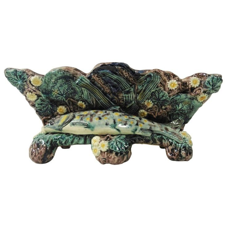 1stdibs Planter / Cachepot / Jardinière – Palissy Fish Jardiniere School Of Paris Circa 1880 French Country Majolica