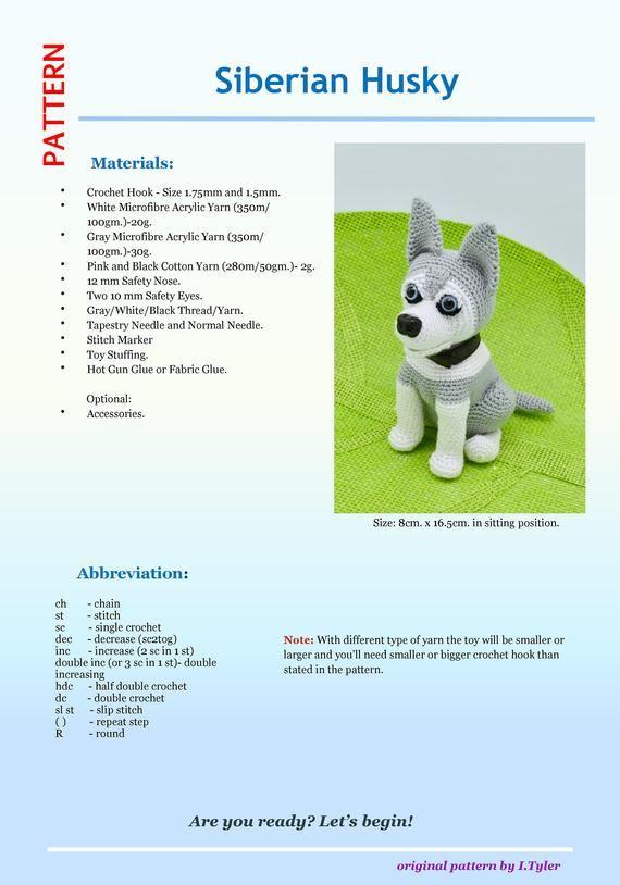 Ravelry: Small Amigurumi Siberian Husky Dog pattern by Helen Brady | 814x570