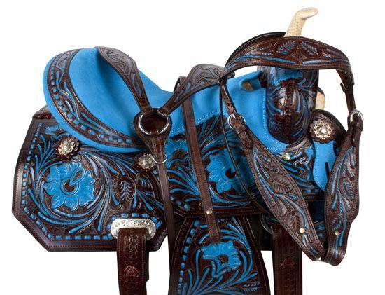 Dark Brown Blue Inlay Barrel Racing Horse Saddle Tack 16