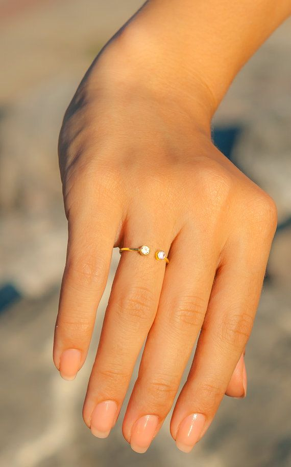Personalized Ring  14k Solid Gold Ring Dual by eleajewelry on Etsy -OBSESSED! so dainty and pretty