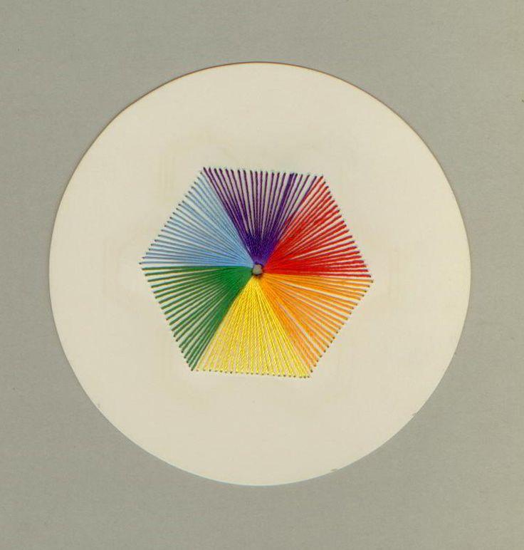 Stickarbeit, Farbkreis, Abschlussarbeit einer Fröbel-Kindergärtnerin ca. 1895, Sammlung Labbé