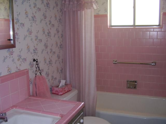 114 best images about 1960s bathroom on pinterest for Pink bathroom tile from the 1950 s