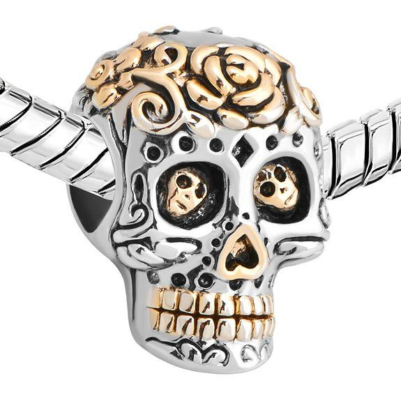 Sterling Silver 925 Halloween Charm Dia De Los Muertos Skeleton Skull Charm Cheap Sale Fit Pandora Charm Bracelets: Amazon.co.uk: Jewellery