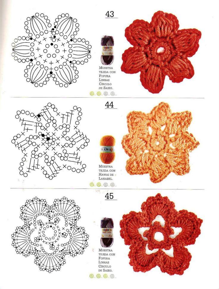 Mejores 737 imágenes de flores crochet- crocheted flowers en ...