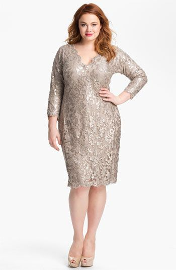 Tadashi Shoji Metallic Jacquard Tulle & Lace Dress (Plus) available at #Nordstrom  Fit's the advice for the MOB - keep your mouth shut and wear beige
