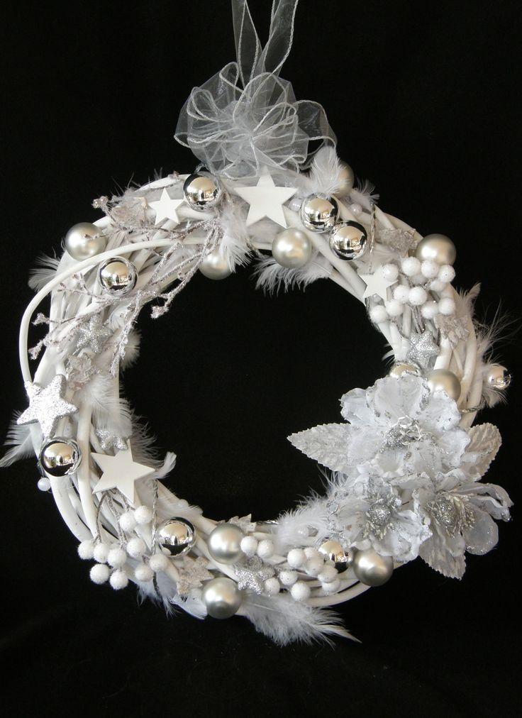 Advent Christmas Door Wreath white  Türkranz Weihnachten Advent weiss