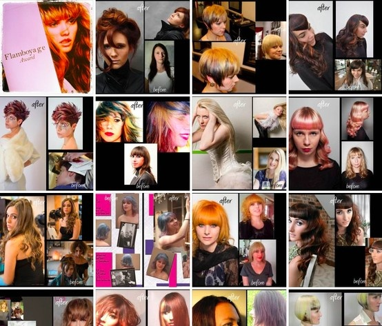 A collage of World Wide Flamboyage Contest Finalists. Your Vote Counts! Click the image to vote for your favorite image on Facebook! The winning image will be displayed on-stage in Paris at the World Wide Hair Tour in May!