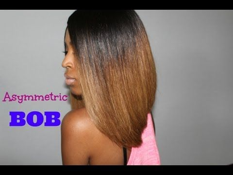 Asymmetrical Weave Bob Hairstyles with Ombre Color for Black Women ...