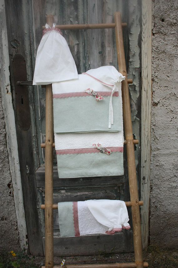 Συλλογή Βάπτισης Shabby Goose #Σετ Λαδόπανα #Λαδόρουχα #Baptism #Christening Undergarment Set #Ladopana #Chrisoms #Towel Set #Christening Contents #Lathopana #Linen Baptism Towel Set #Shabby Goose Baptism Set