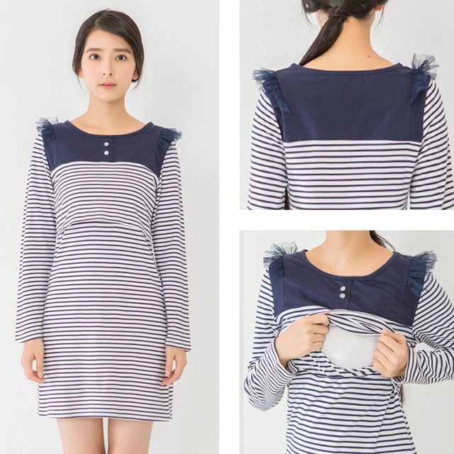 Maternity clothes Nursing  Dress Autumn Winter striped long sleeve dress Breastfeeding  Dress for Pregnant Women