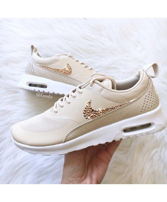 292138f52b9 Nike Air Max Thea Oatmeal Sail White Trainers With Rose Gold Swarovski  Crystals