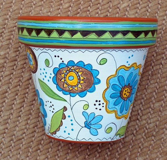 Hand Painted Terracotta Pot Dream in Green 4 by ThePaintedPine