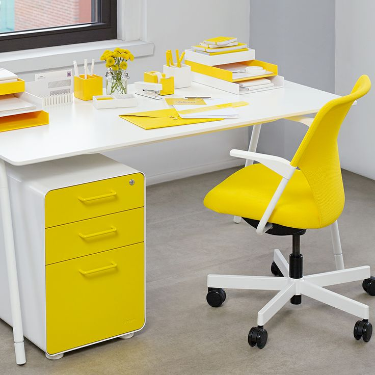White + Yellow West 18th 3 Drawer File Cabinet | Modern Office Furniture |  Poppin