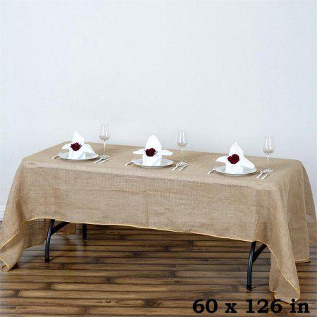 """BalsaCircle 60x126"""" Burlap Rectangle Tablecloth - Natural Brown - Walmart.com"""