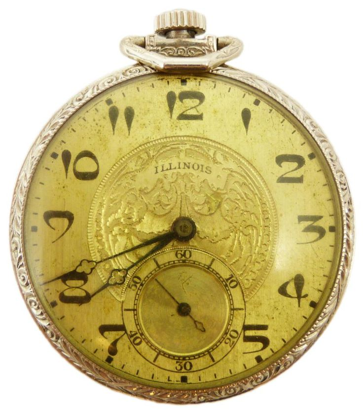 Antique Illinois Pocket Watch / c. 1880 / two tone 14K white and yellow gold